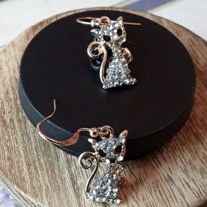 Jewelry - NEW Bling Kitty Cat w Heart Charm Earrings